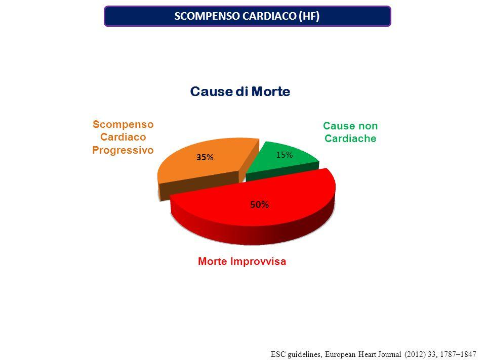 Scompenso Cardiaco Progressivo Cause non Cardiache Morte Improvvisa SCOMPENSO CARDIACO (HF) ESC guidelines, European Heart Journal (2012) 33, 1787–1847