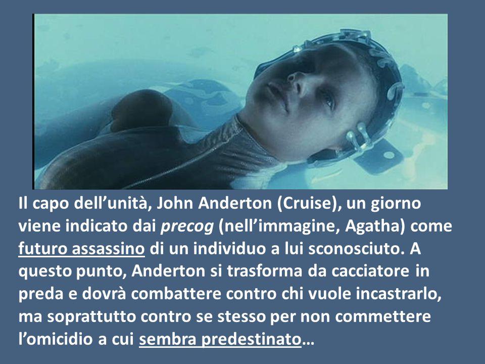 Il capo dell'unità, John Anderton (Cruise), un giorno viene indicato dai precog (nell'immagine, Agatha) come futuro assassino di un individuo a lui sconosciuto.