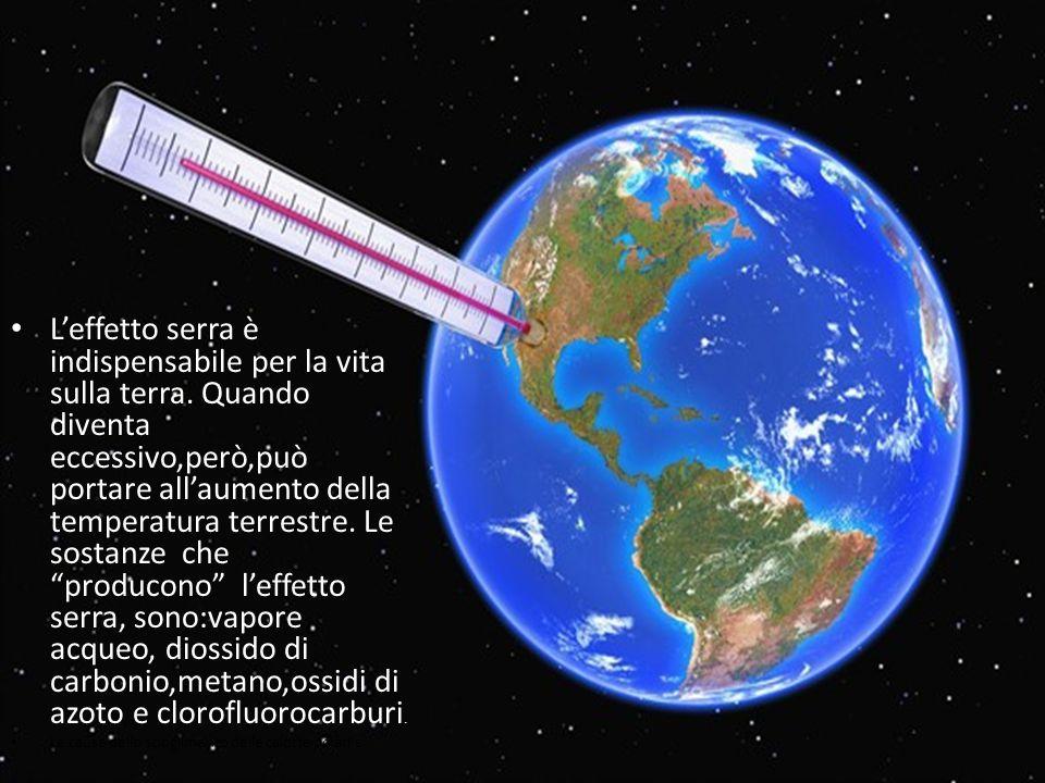 L'effetto serra è indispensabile per la vita sulla terra. Quando diventa eccessivo,però,può portare all'aumento della temperatura terrestre. Le sostan