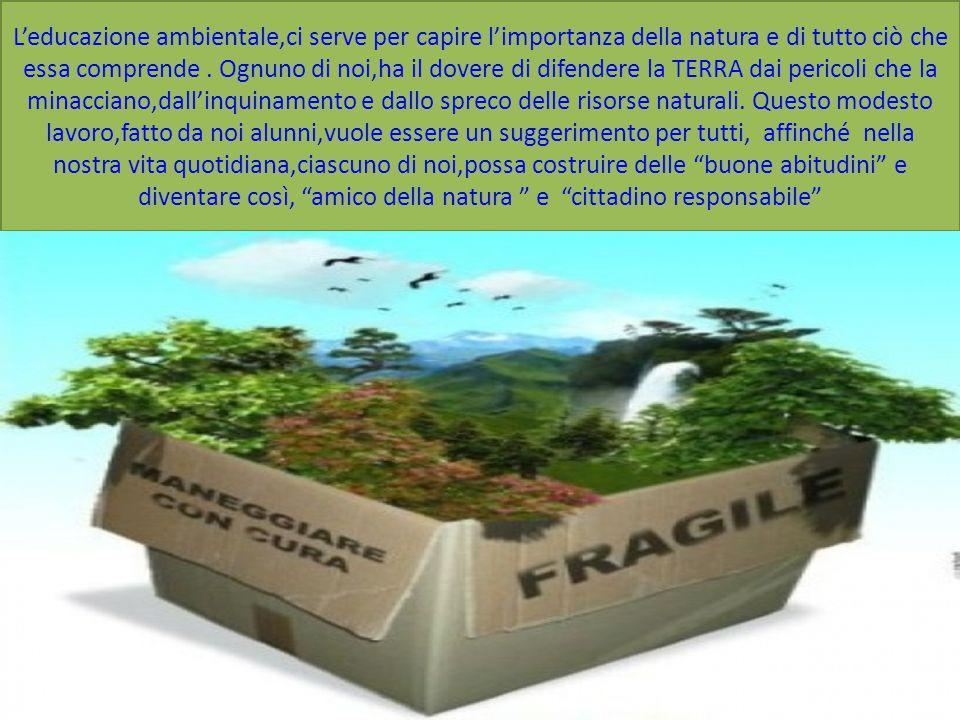 L'educazione ambientale,ci serve per capire l'importanza della natura e di tutto ciò che essa comprende. Ognuno di noi,ha il dovere di difendere la TE