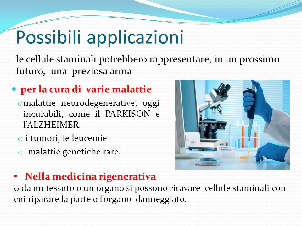 Possibili applicazioni per la cura di varie malattie o malattie neurodegenerative, oggi incurabili, come il PARKISON e l'ALZHEIMER.