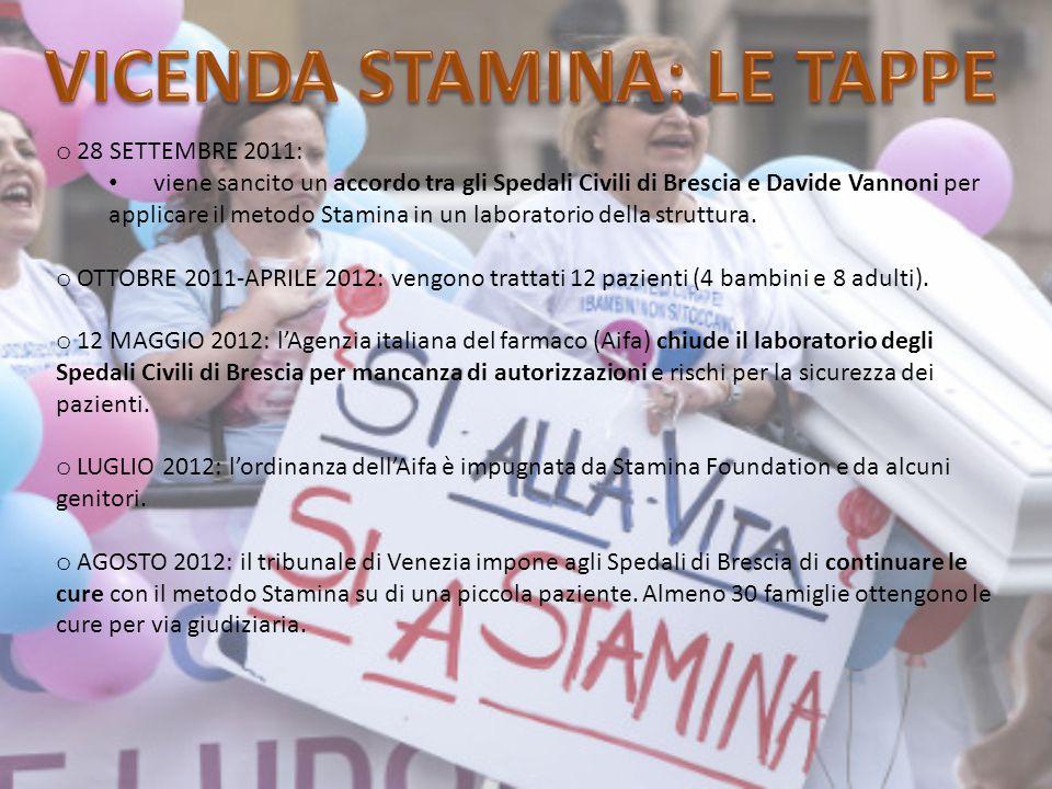 o 28 SETTEMBRE 2011: viene sancito un accordo tra gli Spedali Civili di Brescia e Davide Vannoni per applicare il metodo Stamina in un laboratorio della struttura.