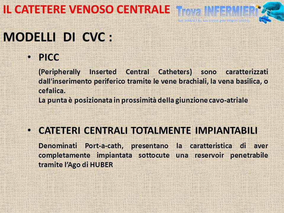 IL CATETERE VENOSO CENTRALE MODELLI DI CVC : PICC (Peripherally Inserted Central Catheters) sono caratterizzati dall'inserimento periferico tramite le
