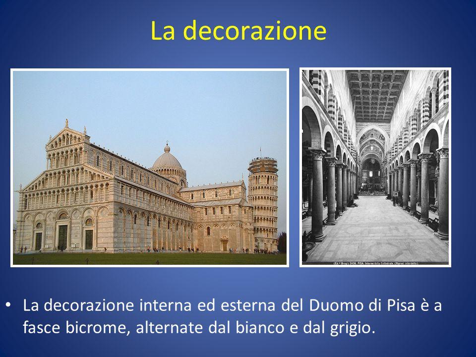 La decorazione La decorazione interna ed esterna del Duomo di Pisa è a fasce bicrome, alternate dal bianco e dal grigio.