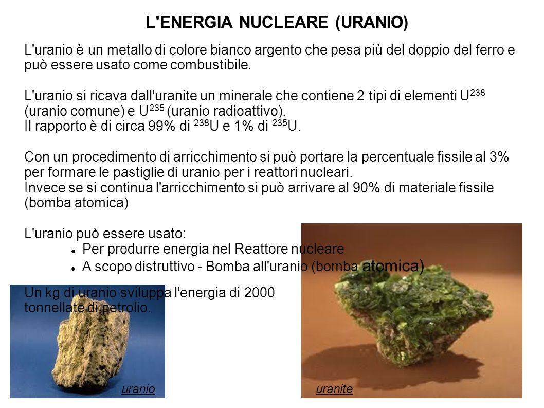 L'ENERGIA NUCLEARE (URANIO) L'uranio è un metallo di colore bianco argento che pesa più del doppio del ferro e può essere usato come combustibile. L'u