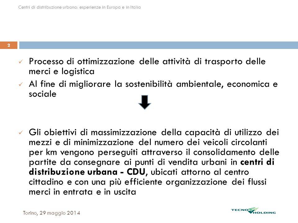 Torino, 29 maggio 2014 2 Processo di ottimizzazione delle attività di trasporto delle merci e logistica Al fine di migliorare la sostenibilità ambient