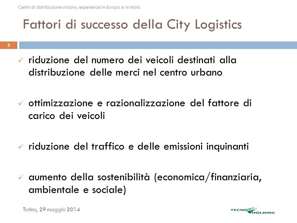 Fattori di successo della City Logistics Torino, 29 maggio 2014 3 riduzione del numero dei veicoli destinati alla distribuzione delle merci nel centro