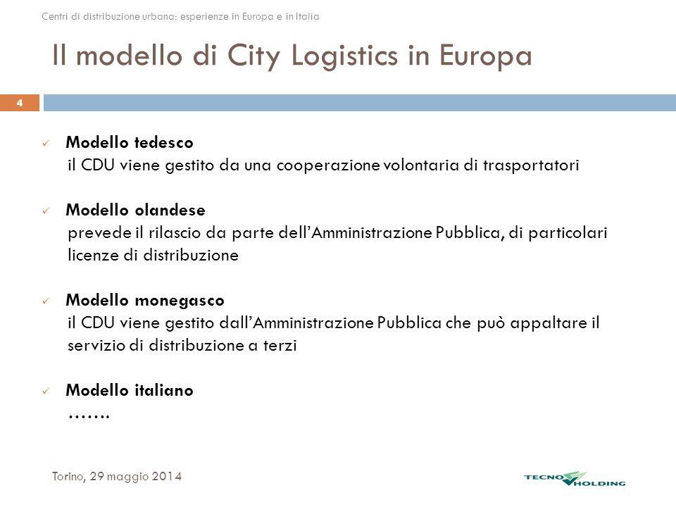 Il modello di City Logistics in Europa Modello tedesco il CDU viene gestito da una cooperazione volontaria di trasportatori Modello olandese prevede i
