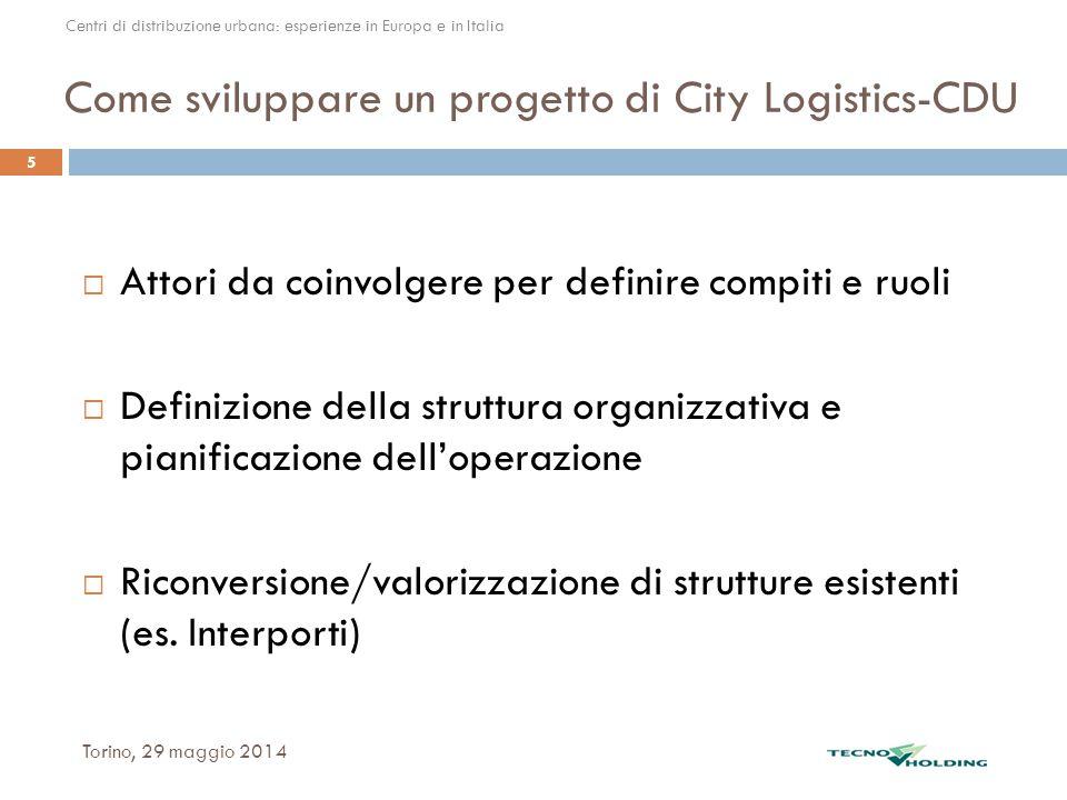 Come sviluppare un progetto di City Logistics-CDU Torino, 29 maggio 2014 5  Attori da coinvolgere per definire compiti e ruoli  Definizione della st