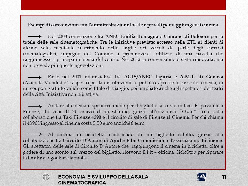 Esempi di convenzioni con l'amministrazione locale e privati per raggiungere i cinema Nel 2008 convenzione tra ANEC Emilia Romagna e Comune di Bologna
