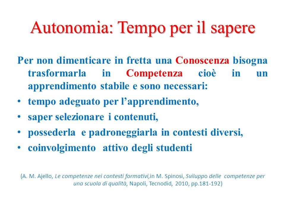 Autonomia: Tempo per il sapere Per non dimenticare in fretta una Conoscenza bisogna trasformarla in Competenza cioè in un apprendimento stabile e sono