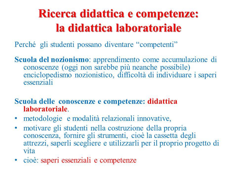 """Ricerca didattica e competenze: la didattica laboratoriale Perché gli studenti possano diventare """"competenti"""" Scuola del nozionismo: apprendimento com"""
