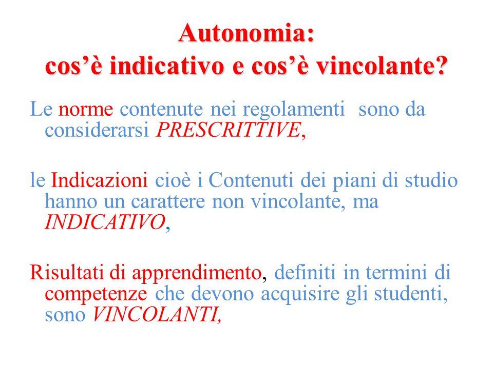 Autonomia: cos'è indicativo e cos'è vincolante? Le norme contenute nei regolamenti sono da considerarsi PRESCRITTIVE, le Indicazioni cioè i Contenuti