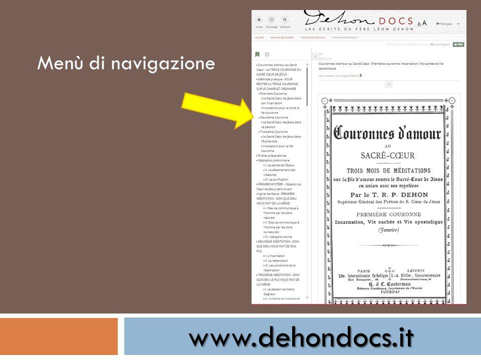 www.dehondocs.it Menù di navigazione