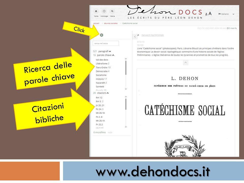 www.dehondocs.it Click Ricerca delle parole chiave Citazioni bibliche