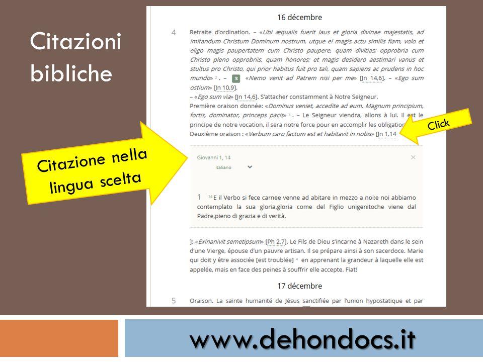 www.dehondocs.it Citazione nella lingua scelta Click Citazioni bibliche
