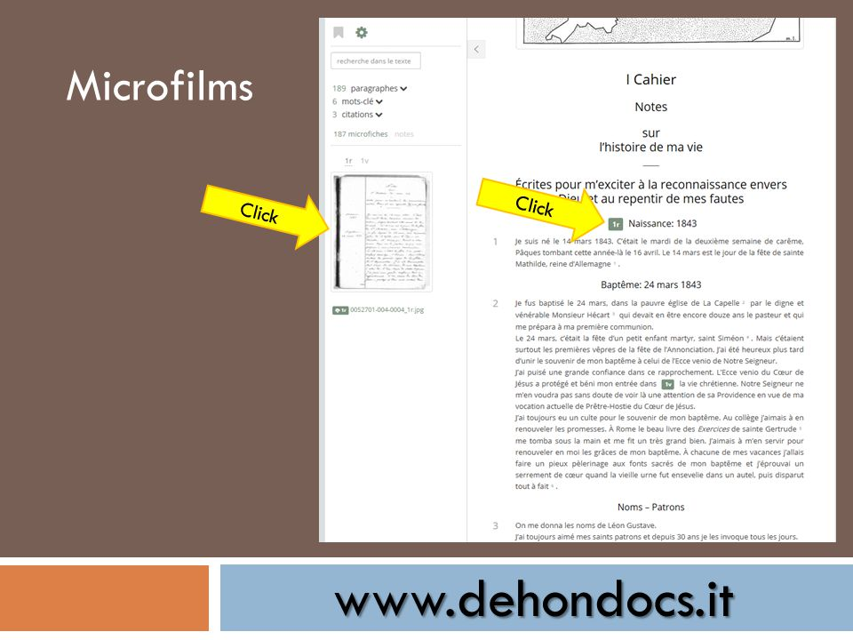www.dehondocs.it Microfilms Click