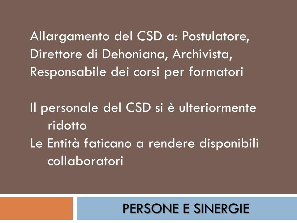 PERSONE E SINERGIE Allargamento del CSD a: Postulatore, Direttore di Dehoniana, Archivista, Responsabile dei corsi per formatori Il personale del CSD