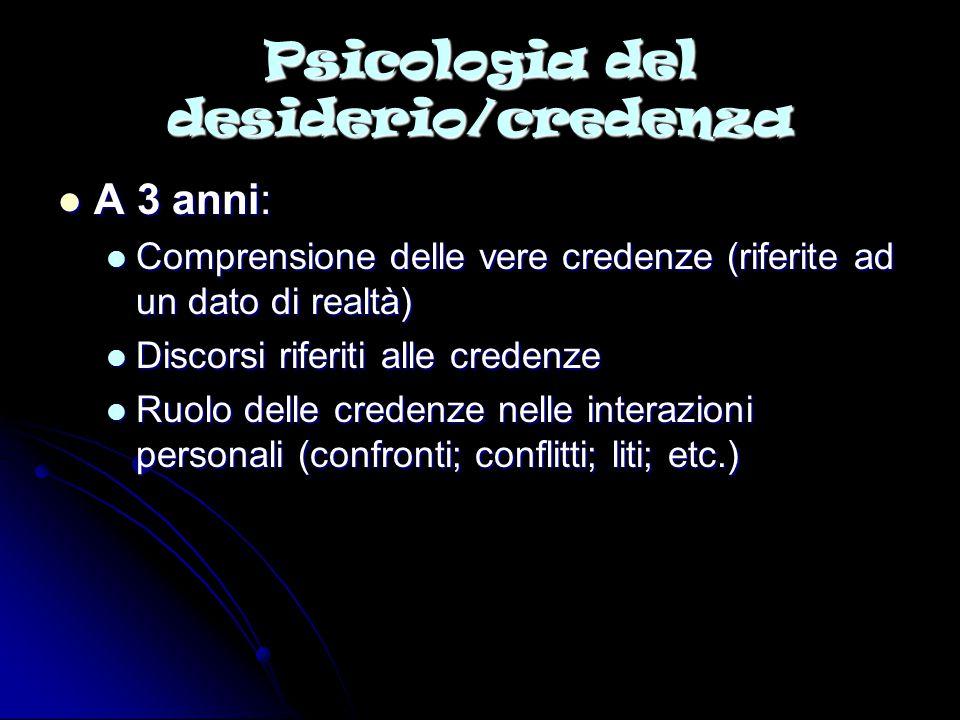 Psicologia del desiderio/credenza A 3 anni: A 3 anni: Comprensione delle vere credenze (riferite ad un dato di realtà) Comprensione delle vere credenz