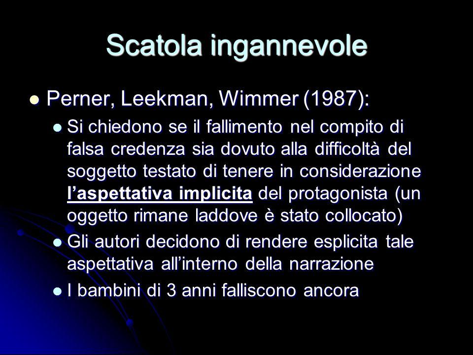 Scatola ingannevole Perner, Leekman, Wimmer (1987): Perner, Leekman, Wimmer (1987): Si chiedono se il fallimento nel compito di falsa credenza sia dov