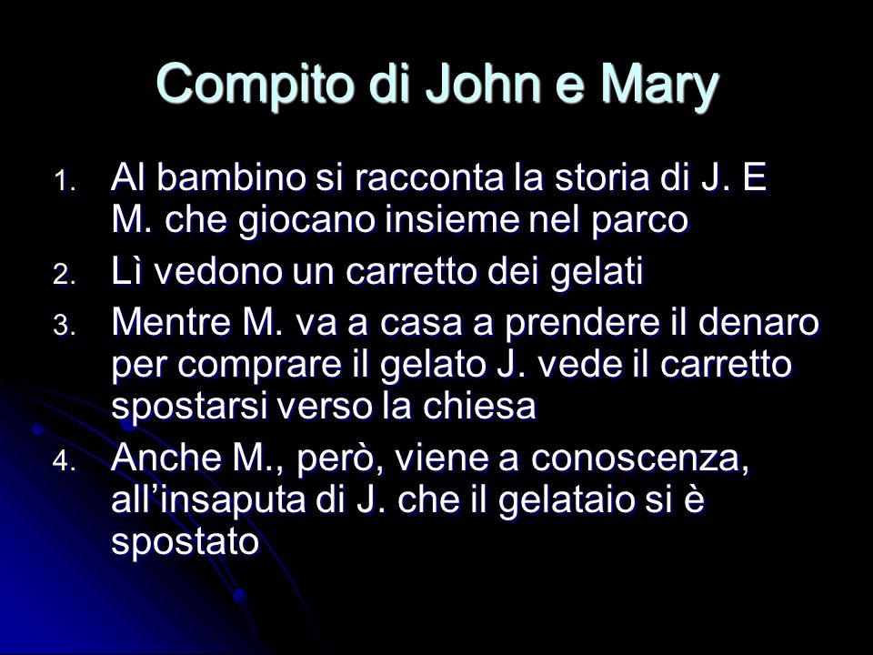 Compito di John e Mary 1. Al bambino si racconta la storia di J. E M. che giocano insieme nel parco 2. Lì vedono un carretto dei gelati 3. Mentre M. v