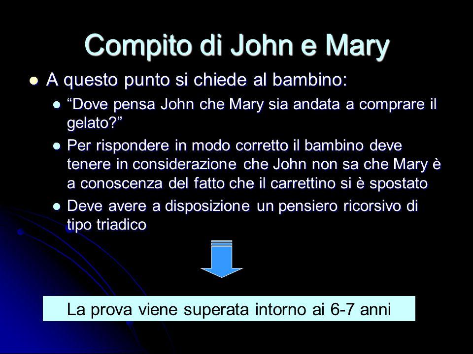 """Compito di John e Mary A questo punto si chiede al bambino: A questo punto si chiede al bambino: """"Dove pensa John che Mary sia andata a comprare il ge"""