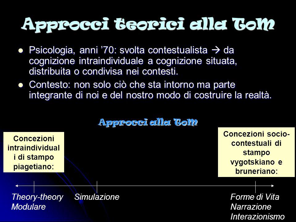 La theory-theory (Perner, Wellman, Gopnik) Teoria della Mente = teoria scientifica Teoria della Mente = teoria scientifica I concetti infantili degli stati mentali sono principi teorici astratti e non osservabili che vengono usati per interpretare i comportamenti.