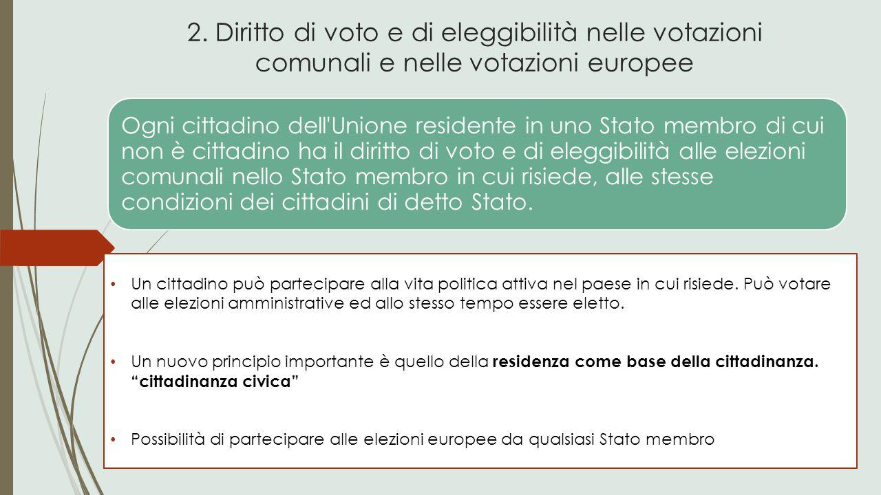 2. Diritto di voto e di eleggibilità nelle votazioni comunali e nelle votazioni europee Un cittadino può partecipare alla vita politica attiva nel pae