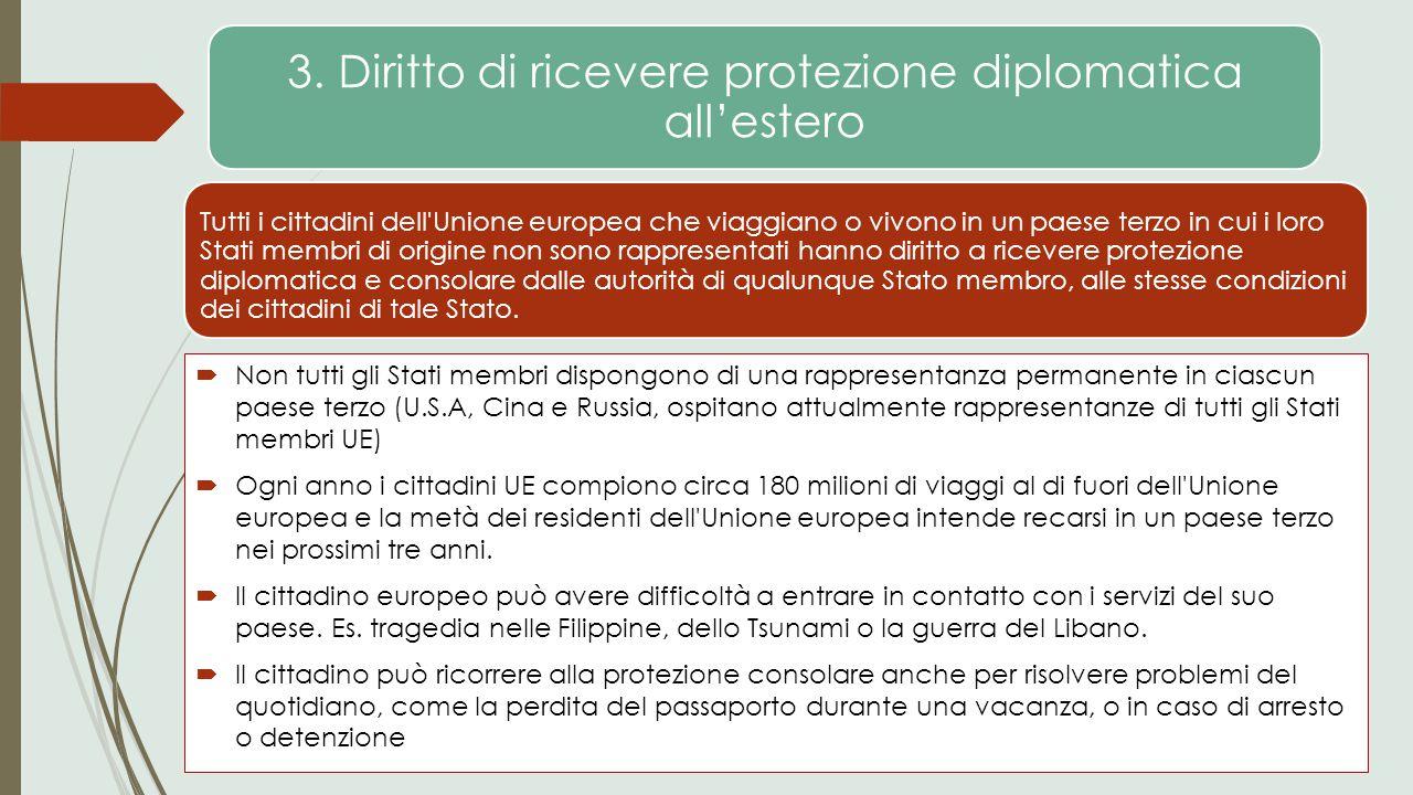 3. Diritto di ricevere protezione diplomatica all'estero Tutti i cittadini dell'Unione europea che viaggiano o vivono in un paese terzo in cui i loro