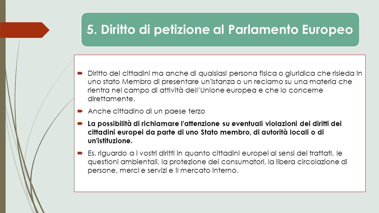 5. Diritto di petizione al Parlamento Europeo  Diritto dei cittadini ma anche di qualsiasi persona fisica o giuridica che risieda in uno stato Membro