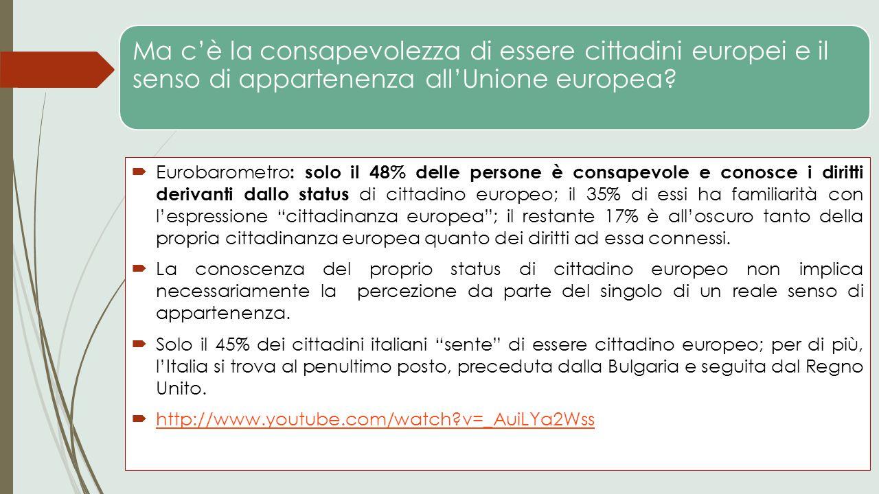 Ma c'è la consapevolezza di essere cittadini europei e il senso di appartenenza all'Unione europea?  Eurobarometro : solo il 48% delle persone è cons