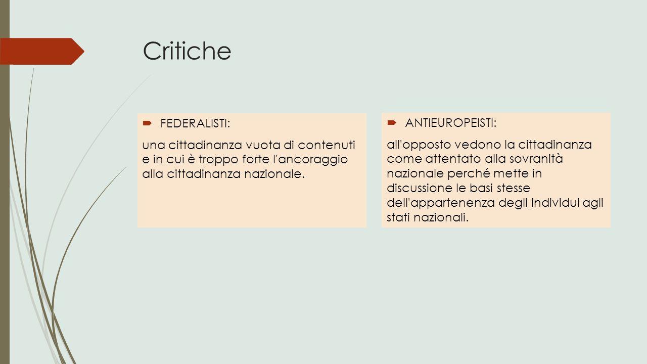 Critiche  FEDERALISTI: una cittadinanza vuota di contenuti e in cui è troppo forte l'ancoraggio alla cittadinanza nazionale.  ANTIEUROPEISTI: all'op