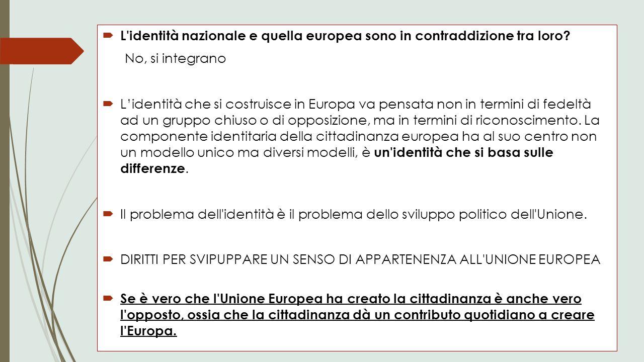  L'identità nazionale e quella europea sono in contraddizione tra loro? No, si integrano  L'identità che si costruisce in Europa va pensata non in t