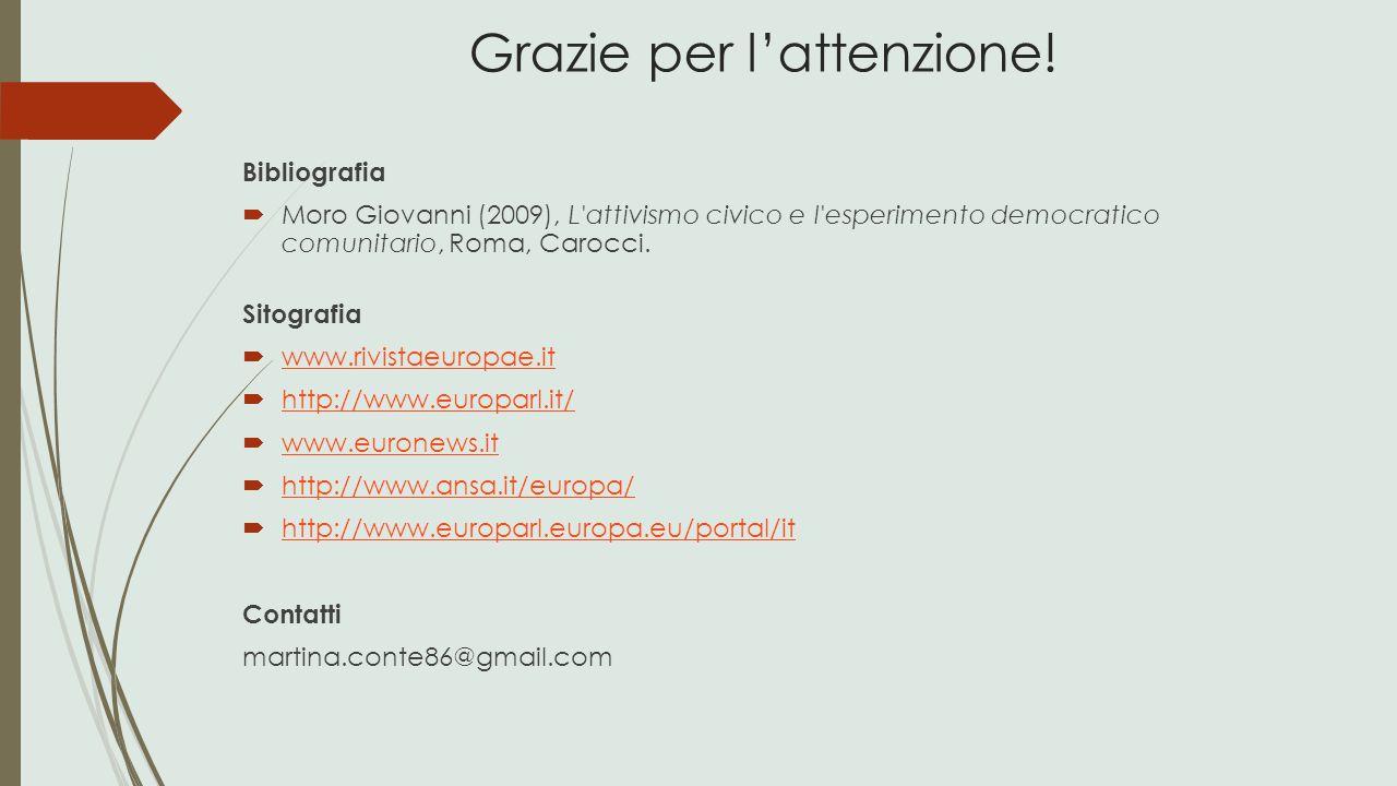 Bibliografia  Moro Giovanni (2009), L'attivismo civico e l'esperimento democratico comunitario, Roma, Carocci. Sitografia  www.rivistaeuropae.it www