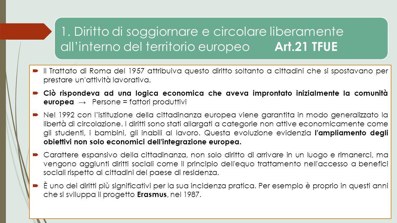 1. Diritto di soggiornare e circolare liberamente all'interno del territorio europeo Art.21 TFUE  Il Trattato di Roma del 1957 attribuiva questo diri