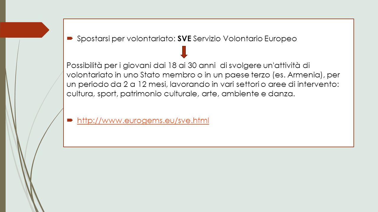 Spostarsi per volontariato: SVE Servizio Volontario Europeo Possibilità per i giovani dai 18 ai 30 anni di svolgere un'attività di volontariato in u