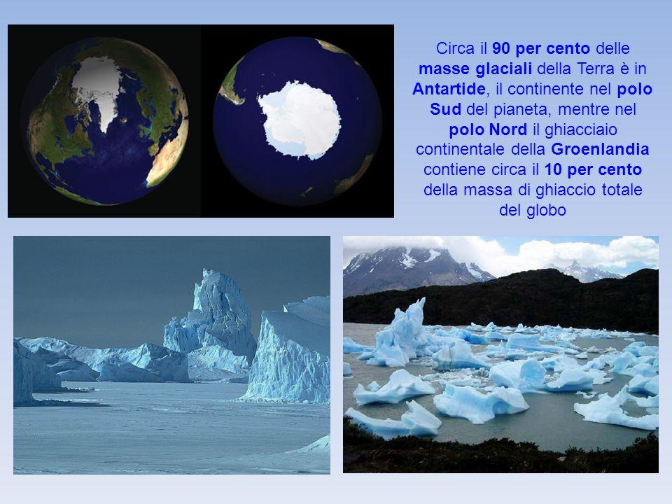Circa il 90 per cento delle masse glaciali della Terra è in Antartide, il continente nel polo Sud del pianeta, mentre nel polo Nord il ghiacciaio cont