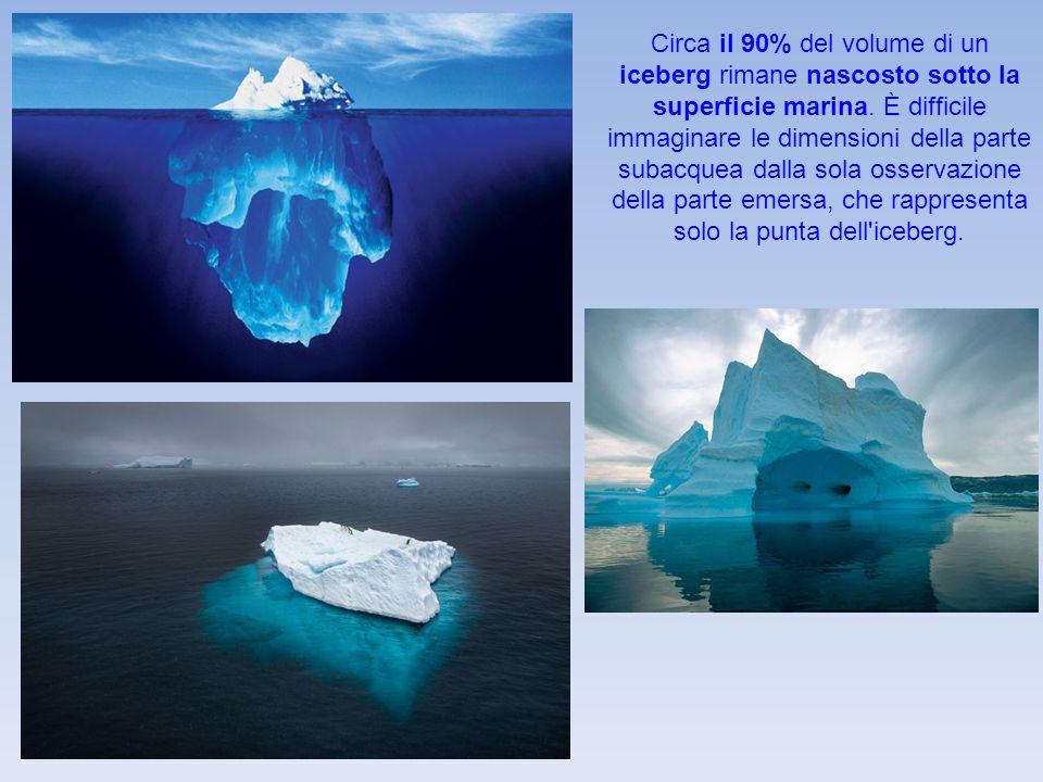 Circa il 90% del volume di un iceberg rimane nascosto sotto la superficie marina. È difficile immaginare le dimensioni della parte subacquea dalla sol