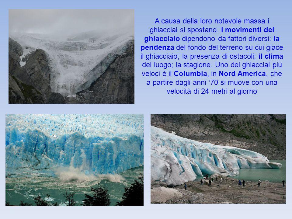 A causa della loro notevole massa i ghiacciai si spostano. I movimenti del ghiacciaio dipendono da fattori diversi: la pendenza del fondo del terreno