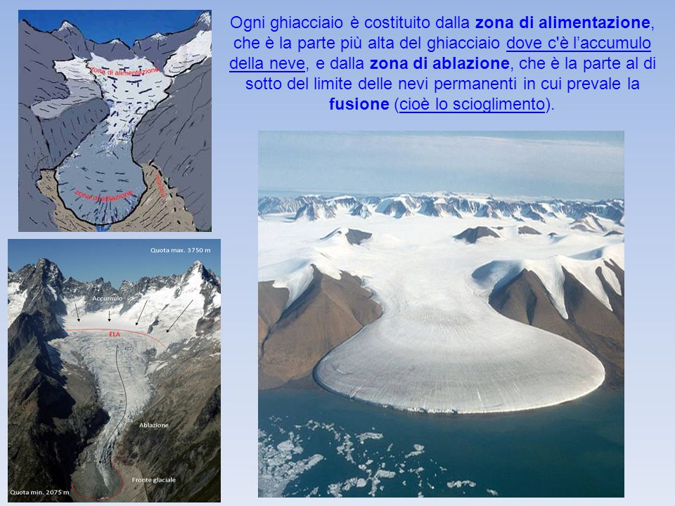 Ogni ghiacciaio è costituito dalla zona di alimentazione, che è la parte più alta del ghiacciaio dove c'è l'accumulo della neve, e dalla zona di ablaz