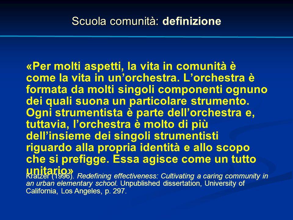 Scuola comunità: Scuola comunità: definizione «Per molti aspetti, la vita in comunità è come la vita in un'orchestra. L'orchestra è formata da molti s