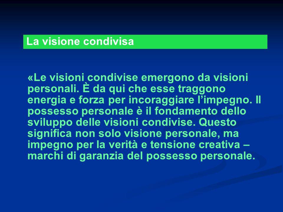 «Le visioni condivise emergono da visioni personali. È da qui che esse traggono energia e forza per incoraggiare l'impegno. Il possesso personale è il