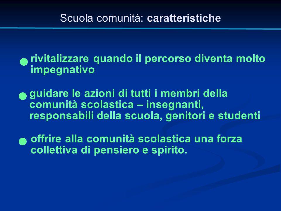 Scuola comunità: caratteristiche rivitalizzare quando il percorso diventa molto impegnativo guidare le azioni di tutti i membri della comunità scolast