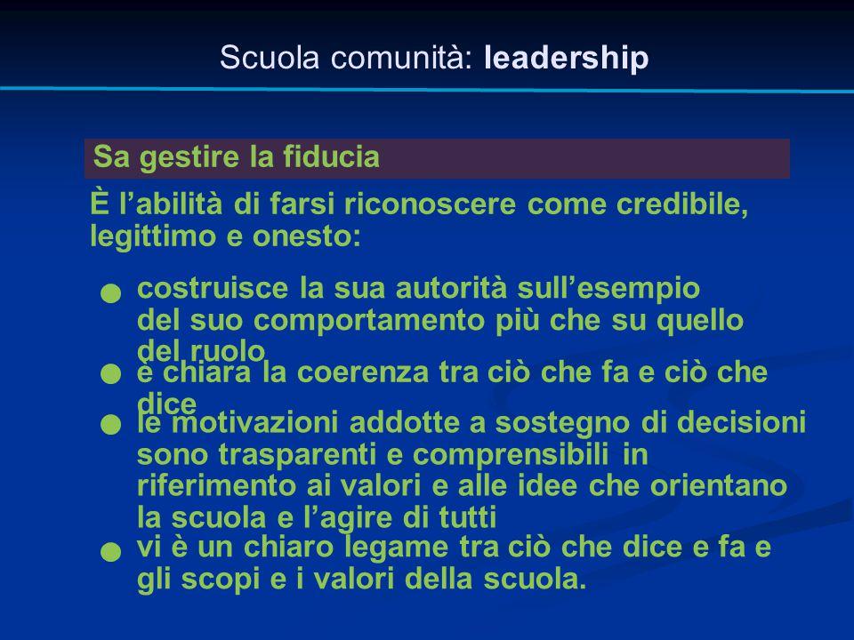 Scuola comunità: leadership Sa gestire la fiducia È l'abilità di farsi riconoscere come credibile, legittimo e onesto: vi è un chiaro legame tra ciò c