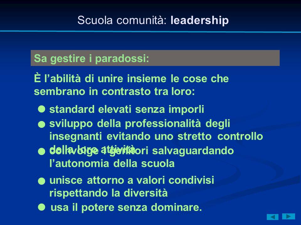 Scuola comunità: leadership Sa gestire i paradossi: È l'abilità di unire insieme le cose che sembrano in contrasto tra loro: standard elevati senza im