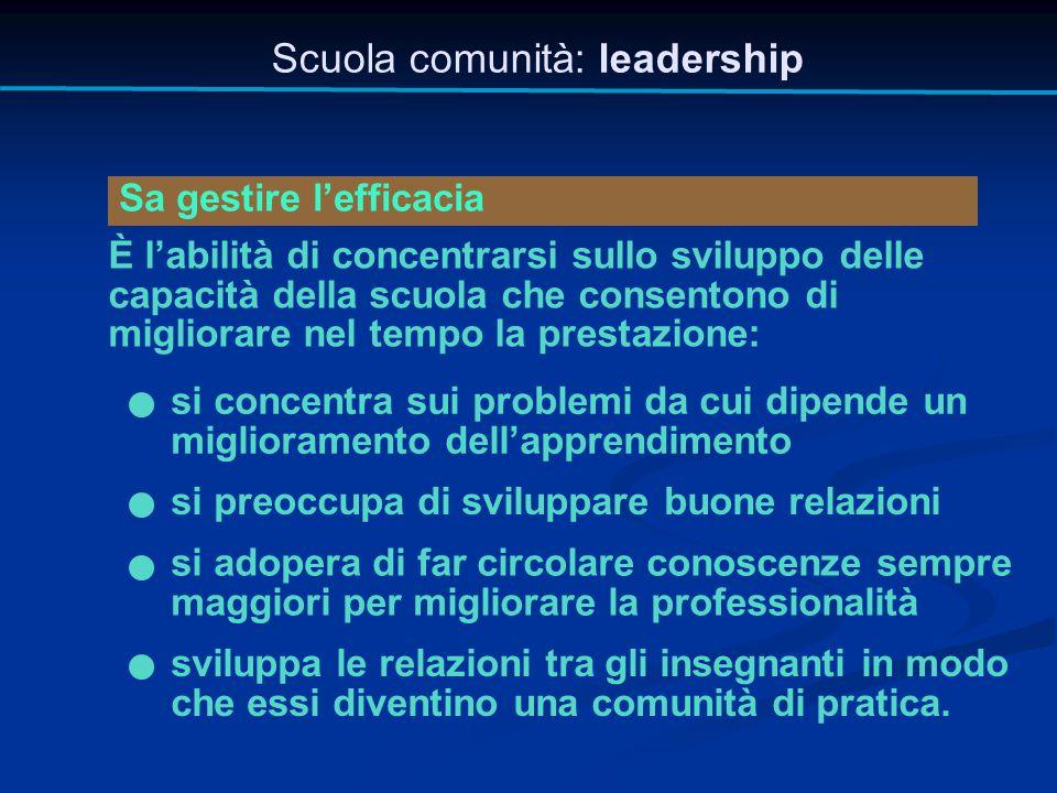 Scuola comunità: leadership Sa gestire l'efficacia È l'abilità di concentrarsi sullo sviluppo delle capacità della scuola che consentono di migliorare