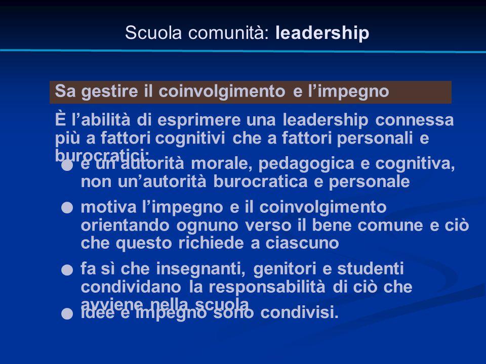 Scuola comunità: leadership Sa gestire il coinvolgimento e l'impegno È l'abilità di esprimere una leadership connessa più a fattori cognitivi che a fa