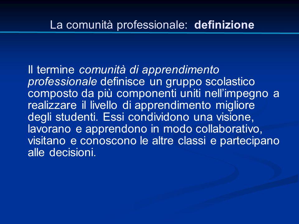 Il termine comunità di apprendimento professionale definisce un gruppo scolastico composto da più componenti uniti nell'impegno a realizzare il livell