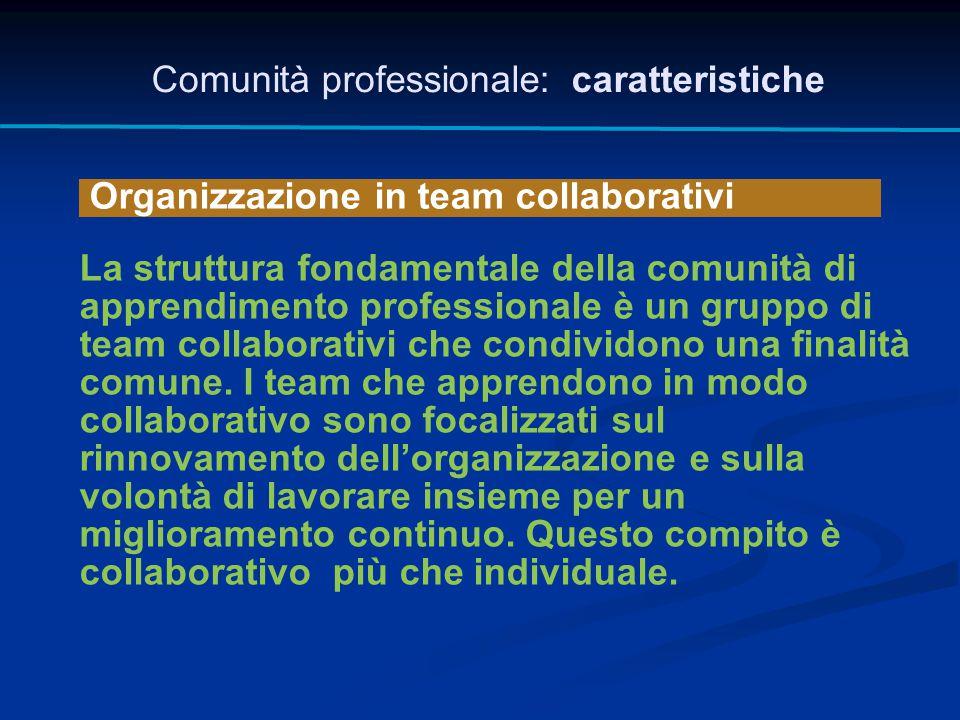Organizzazione in team collaborativi Comunità professionale: caratteristiche La struttura fondamentale della comunità di apprendimento professionale è