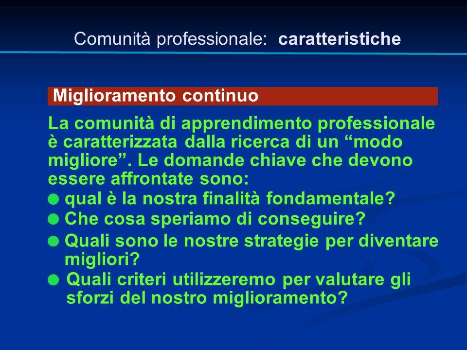 """Comunità professionale: caratteristiche Miglioramento continuo La comunità di apprendimento professionale è caratterizzata dalla ricerca di un """"modo m"""